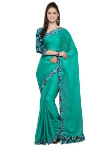 Demarca Green Faux Georgette Saree (code - Tsnsn1041)