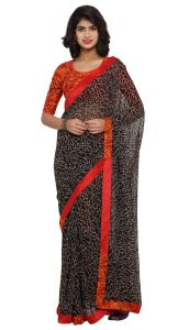 De Marca Black Colour Faux Georgette Saree (product Code - Tsnsy31016)