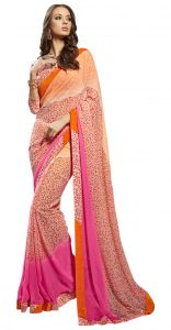 De Marca Pink-orange Colour Faux Georgette Saree (product Code - Tsnsy31033)