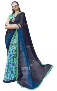 De Marca Blue-green Colour Faux Georgette Half N Half Saree (product Code - Tsnvn1708)