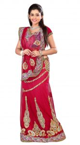 De Marca Red Colour Netlehenga Saree (product Code - Tspn2610a)