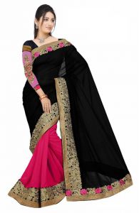 De Marca Pink-black Colour Faux Georgette Half N Half Saree (product Code - Tspoo13382)