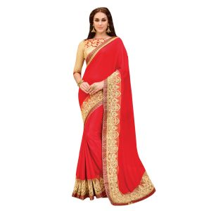 De Marca Red Faux Georgette-brasso-art Silk Saree (product Code - Tssaht7119)