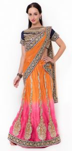De Marca Orange-pink Colour Net-satinlehenga Saree (product Code - Tssf5004)
