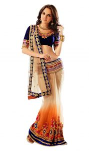 De Marca Beige-orange Colour Net Saree (product Code - Tssf5615)