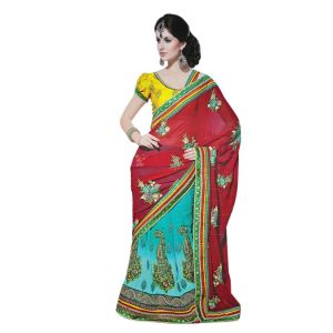 De Marca Blue-red Faux Georgette Saree (product Code - Tssf625)
