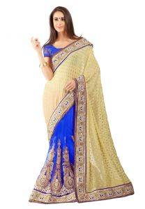 De Marca Blue-chikoo Colour Faux Georgette Half N Half Saree (product Code - Tssf9002c)