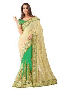 Sarees (Misc) - De Marca Green-Chikoo Colour Jacquard Half n Half Saree (Product Code - TSSF9002E)