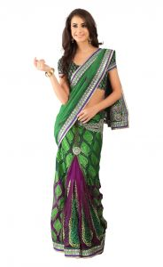De Marca Green Colour Brasso Saree (product Code - Tssf9011)