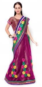 De Marca Purple Colour Faux Georgette-jacquard-netlehenga Saree (product Code - Tssf9209)
