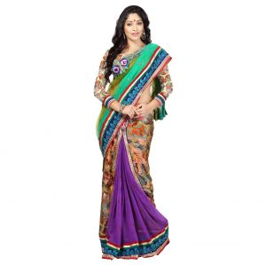 De Marca Multi Colour Net-brassolehenga Saree (product Code - Tssf9212)