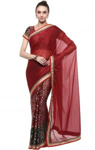 De Marca Maroon Colour Brasso Saree (product Code - Tssf9401)