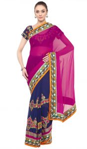 De Marca Blue-pink Colour Faux Georgette Half N Half Saree (product Code - Tssf9407a)