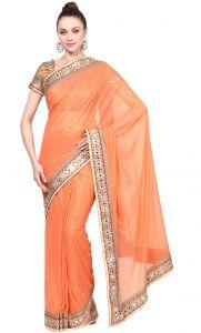 Sarees (Misc) - De Marca Orange Colour Lycra Saree (Product Code - TSSF9410)