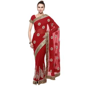 Georgette Sarees - De Marca Maroon Faux Georgette Saree (Product Code - TSSF9421C)