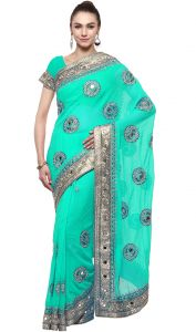 De Marca Green Colour Chiffon Saree (product Code - Tssf9425d)