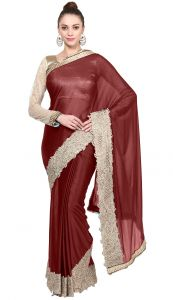 De Marca Brown Colour Lycra Saree (product Code - Tssf9450a)