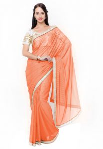 De Marca Orange Colour Lycra Saree (product Code - Tssf9715a)
