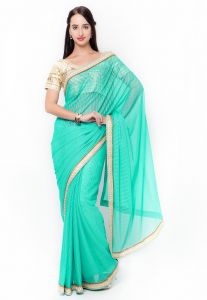 De Marca Green Colour Lycra Saree (product Code - Tssf9715b)