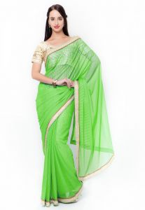 De Marca Green Colour Lycra Saree (product Code - Tssf9715c)