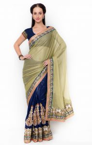De Marca Blue-green Colour Lycra Half N Half Saree (product Code - Tssf9717a)