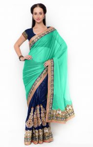 De Marca Blue-green Colour Lycra Half N Half Saree (product Code - Tssf9717b)