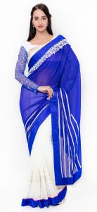 De Marca White-blue Colour Faux Georgette Half N Half Saree (product Code - Tssf9725)