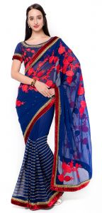 De Marca Blue Colour Faux Georgette Saree (product Code - Tssf9728)