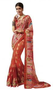 De Marca Red Colour Chiffon Saree (product Code - Tssgrlr5082)
