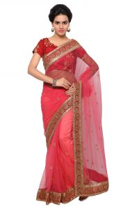 De Marca Peach-red Colour Net Saree (product Code - Tsshfsl1009a)