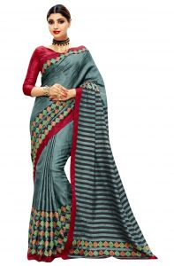 De Marca Grey Colour Bhagalpuri Silk Saree (product Code - Tssrchk1214)