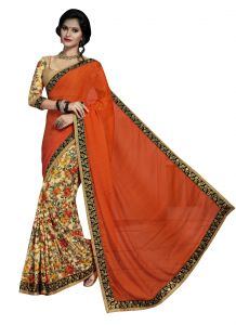 De Marca Orange Colour Brasso Half N Half Saree (product Code - Tssssw01)