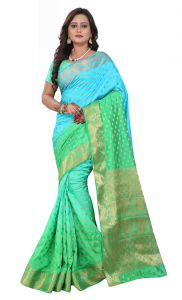 De Marca Green-blue Colour Art Silk Saree (product Code - Tswtbs13412)