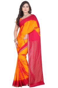 De Marca Orange-red Colour Chiffon Saree (product Code - Tswtsn13340)