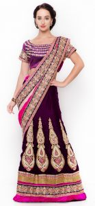 De Marca Purple Colour Velvetlehenga Saree (product Code - Tsxfl1605)