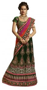 De Marca Green Colour Net-velvetlehenga Saree (product Code - Tsxfl1607)