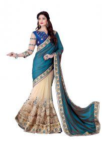 Net Sarees - De Marca Blue - Beige Colour Silk Pallu - Net Saree (Product Code - V17302)