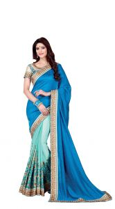 De Marca Blue - Sea Green Colour Silk - Satin Saree (product Code - V17306)