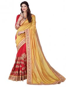 De Marca Yellow - Red Colour Silk Saree (product Code - V17307)