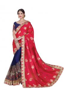 De Marca Red - Blue Colour Jacquard - Silk Saree (product Code - V17310)