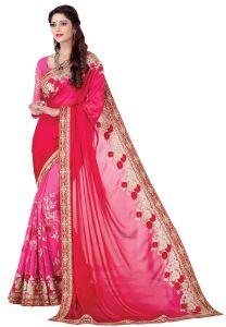Silk Sarees - De Marca Red - Pink Colour Satin Saree (Product Code - V17312)