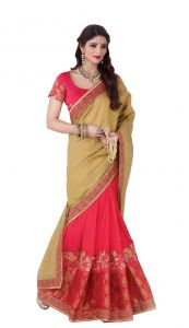 Silk Sarees - De Marca Beige - Pink Colour Silk Saree (Product Code - V17313)