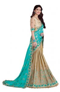Silk Sarees - De Marca Firozi - Beige Colour Jacquard - Silk Saree (Product Code - V17315)