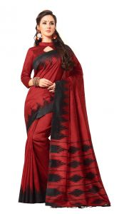 De Marca Red Colour Jute Silk Saree (code - V8050)
