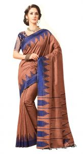 De Marca Brown Colour Jute Silk Saree (code - V8060)