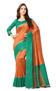 De Marca Green - Orange Colour Jute Silk Saree (code - V8090)