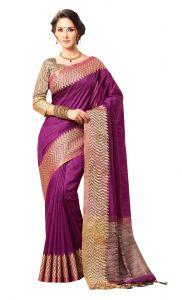 De Marca Purple Colour Jute Silk Saree (code - V8100)