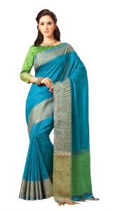 De Marca Blue Colour Jute Silk Saree (code - V8110)
