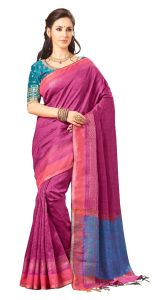 De Marca Pink Colour Jute Silk Saree (code - V8130)
