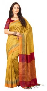 De Marca Yellow Colour Jute Silk Saree (code - V8160)